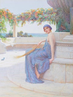 William F Ashburner A Maiden in a Classical Setting watercolour pre-Raphaelite