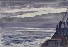 Claude Muncaster: Dusk, City of Exeter, Ellerman Line - Biscay 1948 watercolour