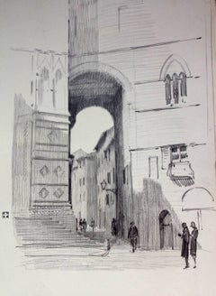 Christopher Hughes: View of Siena - 1930s English drawing of Tuscany Italy Tour