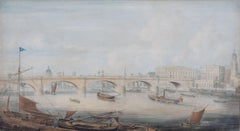 Gideon Yates 1831 View on The Thames with London Bridge St Paul's Cathedral