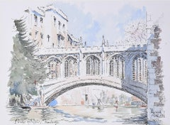 Derek Abel St John's College Cambridge Bridge of Sighs coloured print University