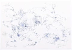 Dogs original pen and ink sketch Derrick Sayer for Beverley Nichols Cats ABC