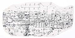 Town Scene: Peter Collins ARCA pen and ink sketch Modern British Art