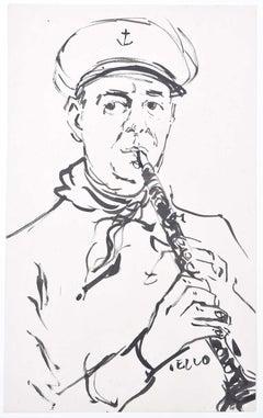 Royal Navy Bandsman: Peter Collins ARCA pen and ink sketch clarinet Naval