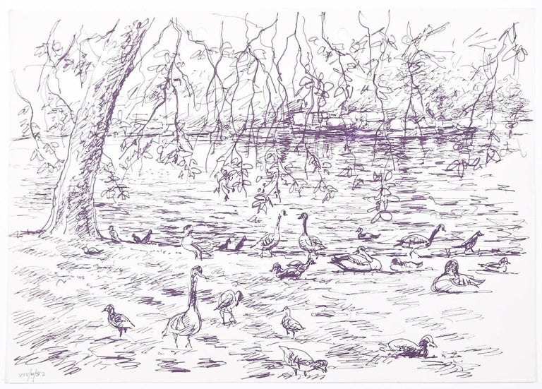 Derrick Latimer Sayer Animal Art - Ducks original pen and ink sketch Derrick Sayer for Beverley Nichols Cats ABC