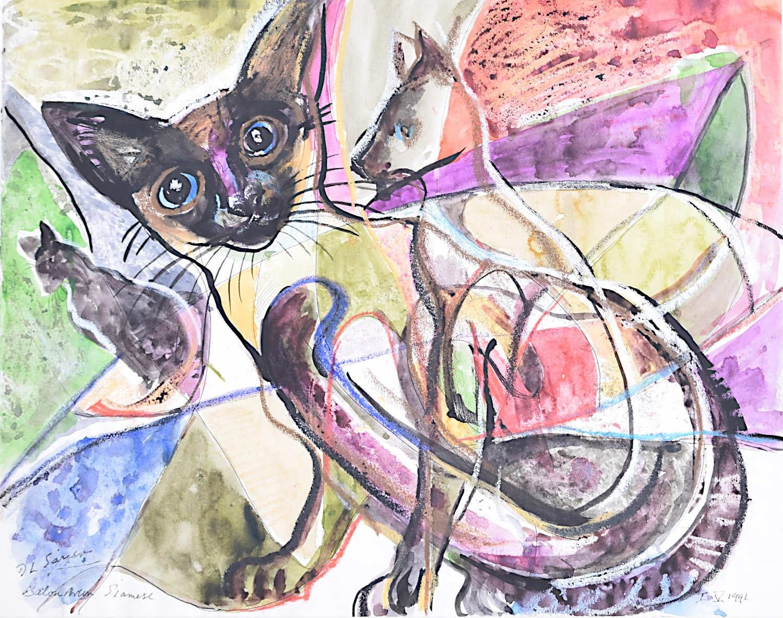 Siamese Cats original watercolour Derrick Sayer for Beverley Nichols Cats ABC