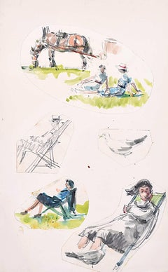 Elegant Figures in Deckchairs with Boaters watercolour: Peter Collins ARCA