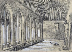 Hubert Hennes New College Oxford University Cloisters sketch