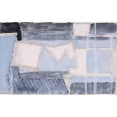 Clifford Ellis Abstract Painting Mid-Century Modern British Art Grey & Black
