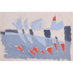 Clifford Ellis Sailing Boats in Blue & Red Mid Century Modern British Art