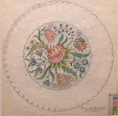 D.L.Hadden 1930s Original Gouache Design for Embroidery for Cushion