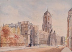 """1883 Watercolour Tom Tower Christ Church Oxford """"W H Hill"""" College University"""