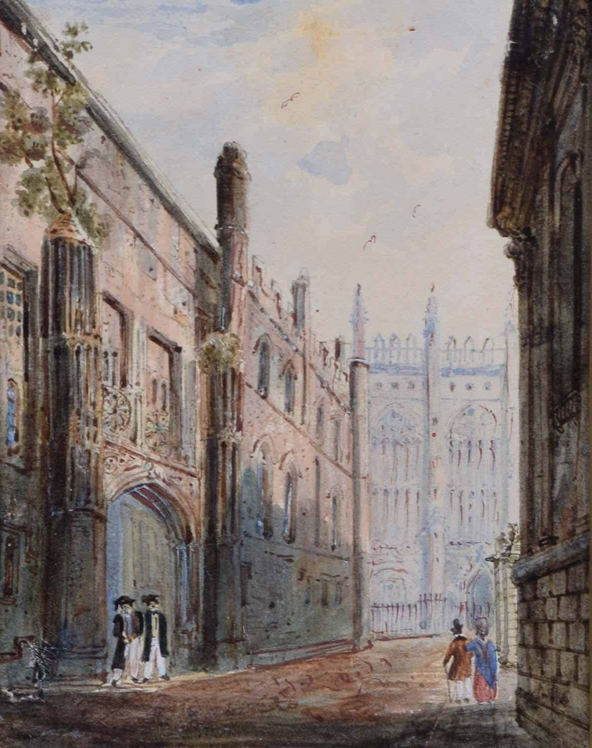 King's College Chapel Cambridge from Trinity Lane Early C19th Watercolour