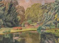 Major F A Molony Fellows' Garden Emmanuel College Cambridge Watercolour
