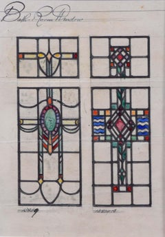 Stained Glass Art Deco Window Design for Ball Room TW Camm Florence Camm