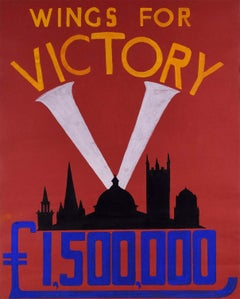 WW2 Oxford Wings for Victory Original Vintage Poster Design Gouache World War II