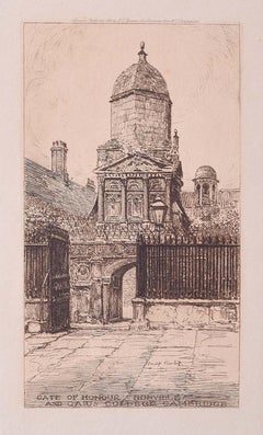 Gate of Honour Gonville and Caius College Cambridge Philip Pimlott etching 1912