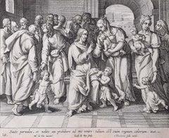 Theodoor Galle 17th Century Engraving Suffer the Little Children Martin de Vos