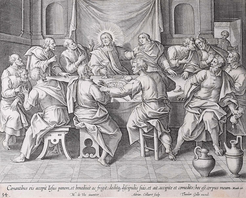 Theodoor Galle 17th Century Engraving Last Supper Adriaen Collaert Martin de Vos