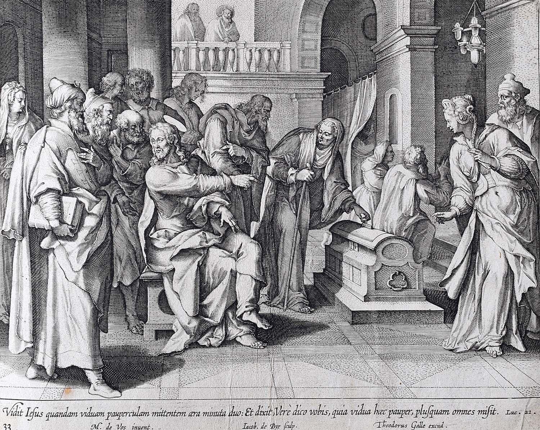Theodoor Galle Martin de Vos 17th Century engraving The Widow's Mite (Offering)