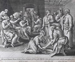 Theodoor Galle Martin de Vos Engraving Jesus Washes his Disciples' Feet