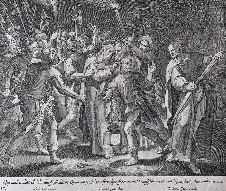 Theodoor Galle Martin de Vos 17th Century Engraving The Traitor