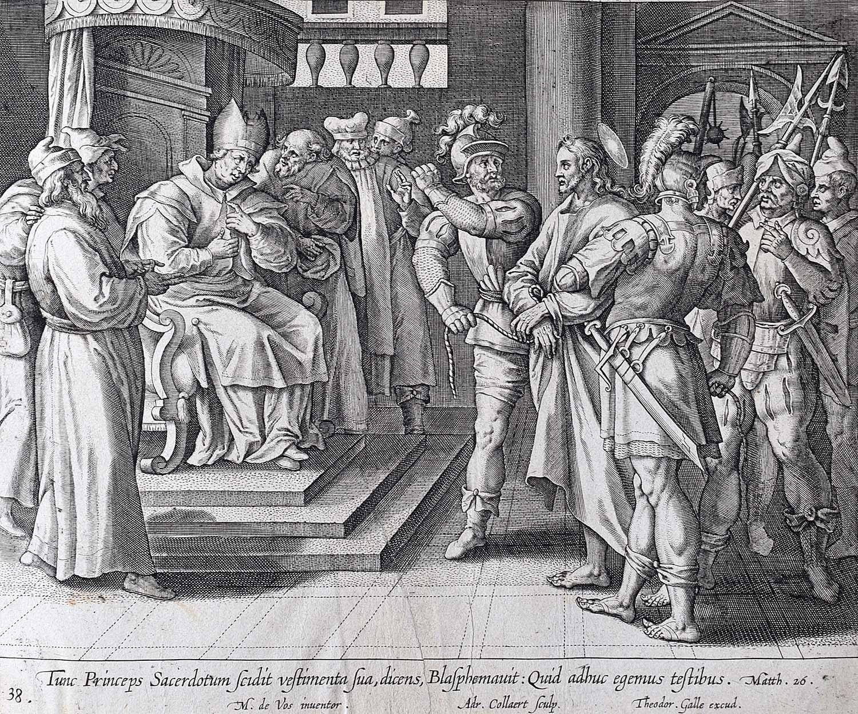 Theodoor Galle Martin de Vos 17th Century Engraving Jesus Faces the Sanhedrin