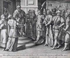Theodoor Galle Martin de Vos 17th Century Engraving Jesus Before Pilate