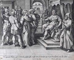 Theodoor Galle Martin de Vos Engraving Jesus Taken Before Pilate and Herod
