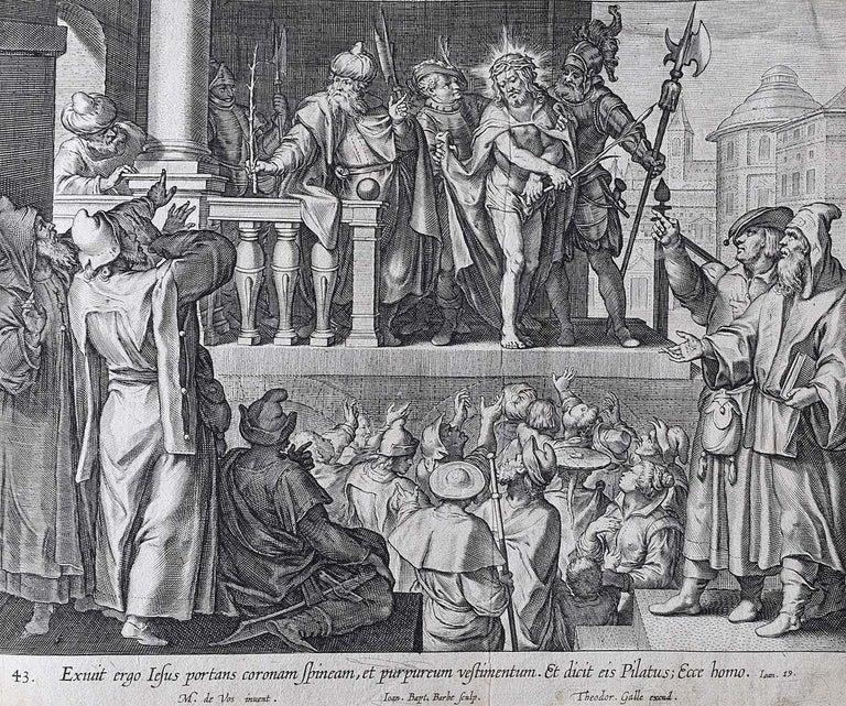 Theodoor Galle Martin de Vos Engraving Jesus in Purple Robes and Crown of Thorns - Print by Theodoor Galle