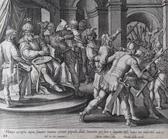 Theodoor Galle Martin de Vos 17th Century Engraving Pilate Washed his Hands