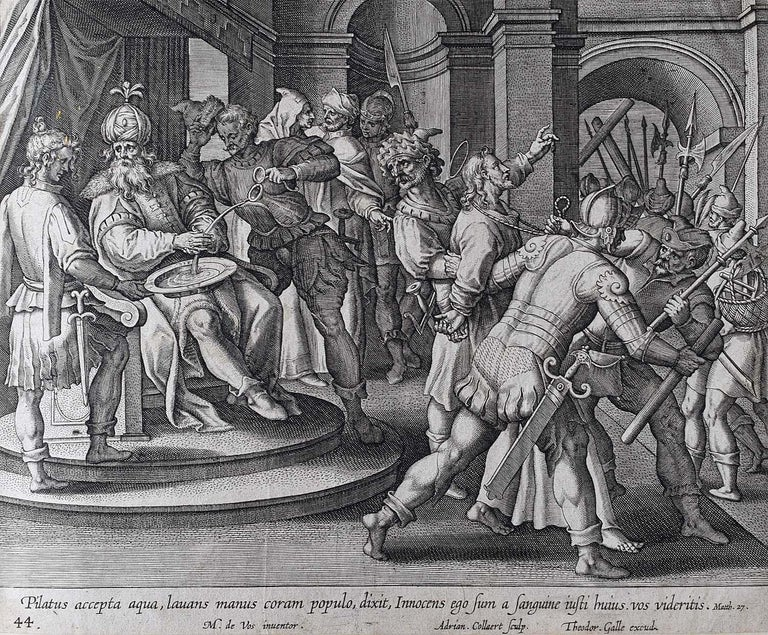 Theodoor Galle Martin de Vos 17th Century Engraving Pilate Washed his Hands - Print by Theodoor Galle