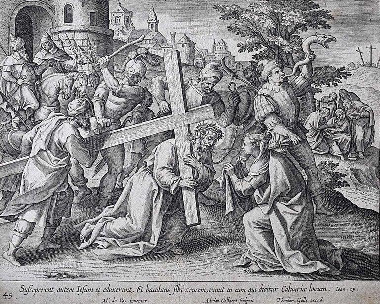 Theodoor Galle Martin de Vos 17th Century Engraving Jesus Carries his Cross - Print by Theodoor Galle