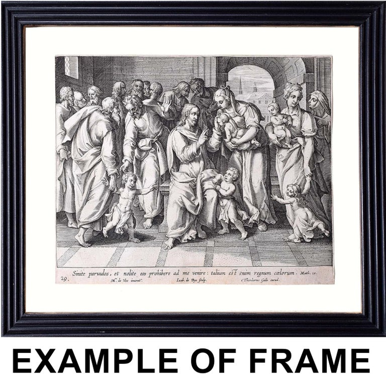 Theodoor Galle Martin de Vos 17th Century Engraving Jesus Nailed to the Cross - Realist Print by Theodoor Galle