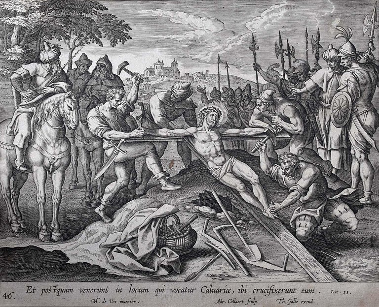 Theodoor Galle Martin de Vos 17th Century Engraving Jesus Nailed to the Cross - Print by Theodoor Galle