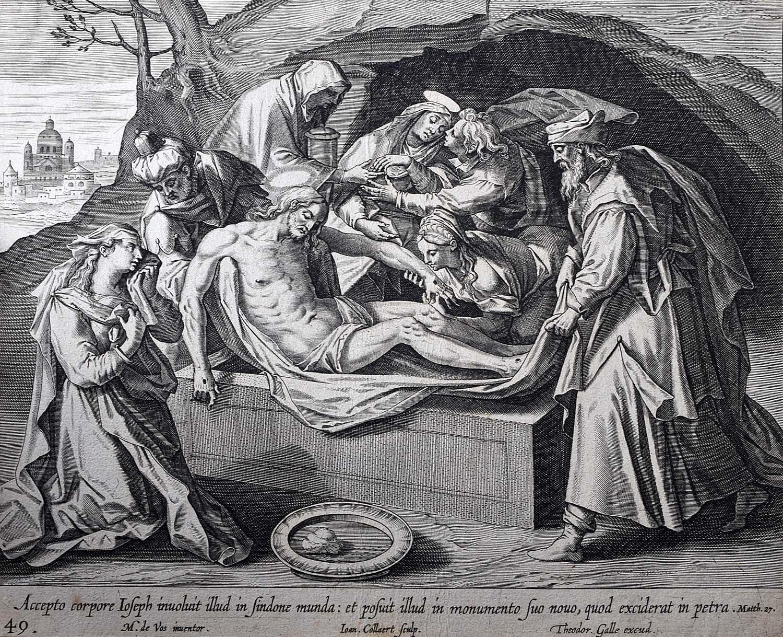 Theodoor Galle Martin de Vos 17th Century Engraving Jesus' Tomb Easter