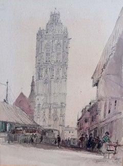 Prof Sir Albert Richardson PRA Verneuil 1954 Watercolour Architectural drawing