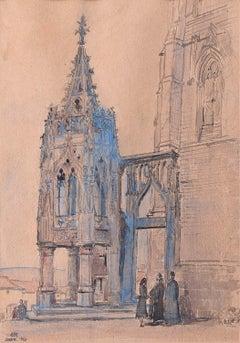 Prof Sir Albert Richardson PRA Avioth Recevresse 1960 Watercolour Architectural