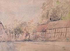 Prof Sir Albert Richardson PRA Cottages 1962 Watercolour Drawing