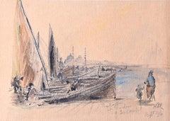 Prof Sir Albert Richardson PRA London Bridge c. 1960 Watercolour painting