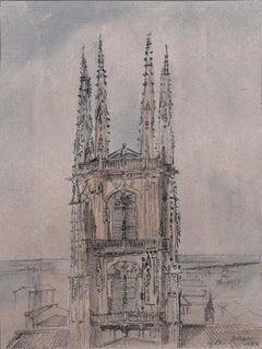 Prof Sir Albert Richardson PRA Burgos 1963 Watercolour Architectural Drawing