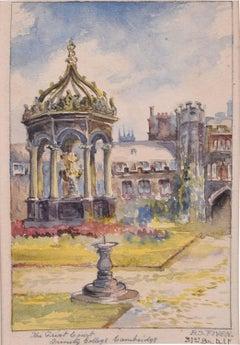 Great Court Trinity College Cambridge Watercolour by B.S. Fiven Fountain c. 1917