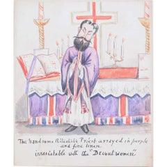 c.1850 'Ritualistic Priest' Caricature Anglo-Catholic Oxford Movement John Keble