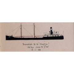 "Laurence Dunn, Drawing of Coastal Tramp Swedish S.S ""Nadja"" (c.1925)"