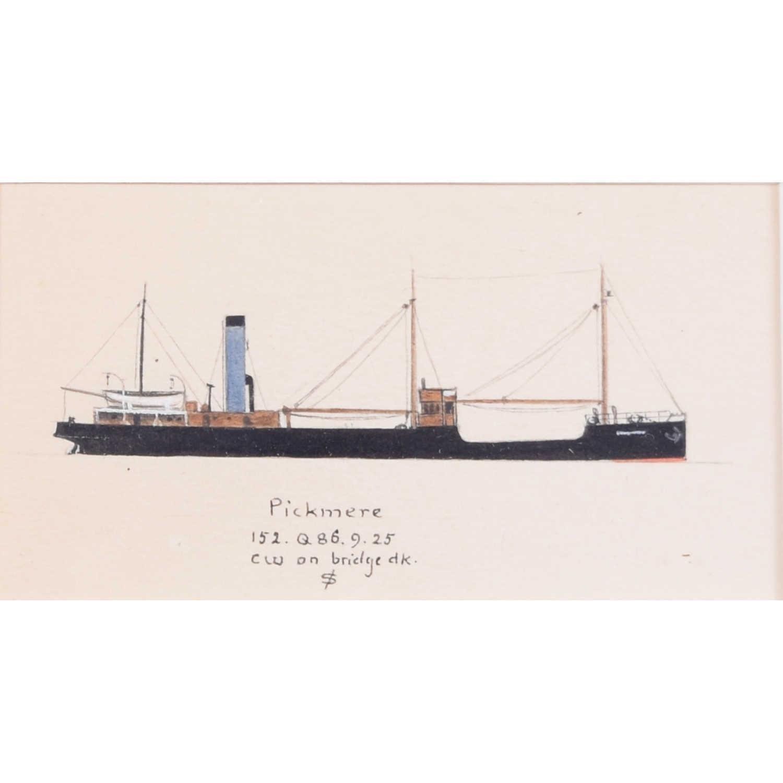 Laurence Dunn, Drawing of Trawler 'Pickmere' (c.1925) Thames Estuary