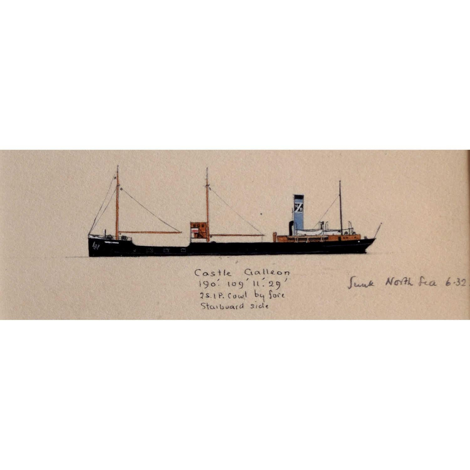 Laurence Dunn, Drawing of Coastal Tramp SS Castle Galleon (c1925) Thames Estuary