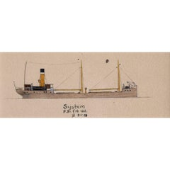 Laurence Dunn, Drawing of Coastal Tramp 'SS System' (c.1925) Thames Estuary