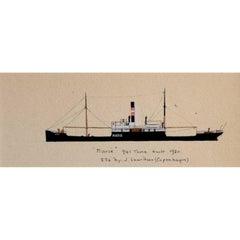 "Laurence Dunn, Drawing of Coastal Tramp ""Marie"" (c.1925) Thames Estuary"