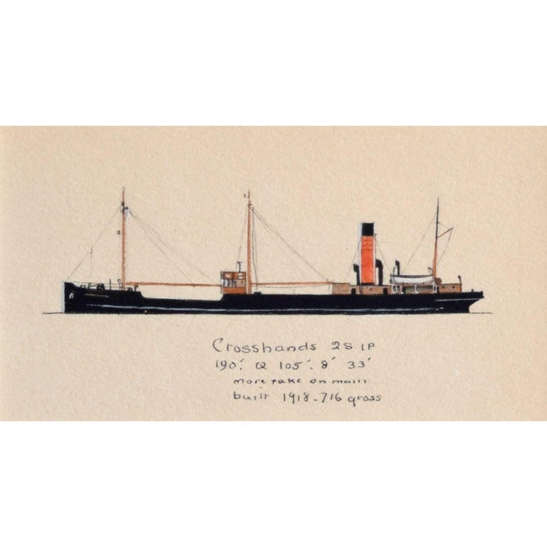 Laurence Dunn, Drawing of Coastal Tramp 'SS Crosshands' (c.1925) Thames Estuary - Art by Laurence Dunn