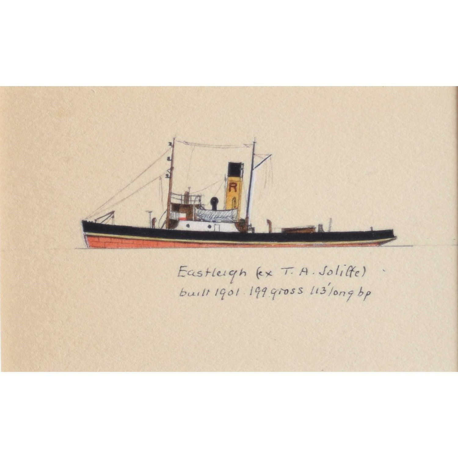 Laurence Dunn, Drawing of Coastal Tramp Eastleigh, Kent (c.1925) T A Soliffe